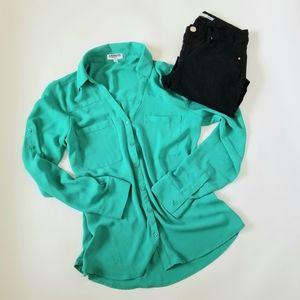 Express portofino Green long sleeves shirt M